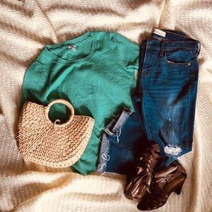 🍃JCrew🍃 NWOT short sleeve Kelly green sweater